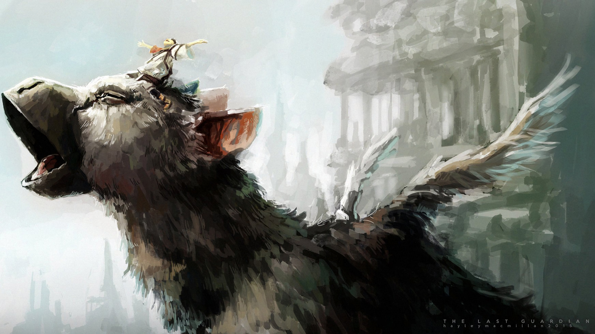 Trico With The Boy On His Head Wallpaper From The Last Guardian