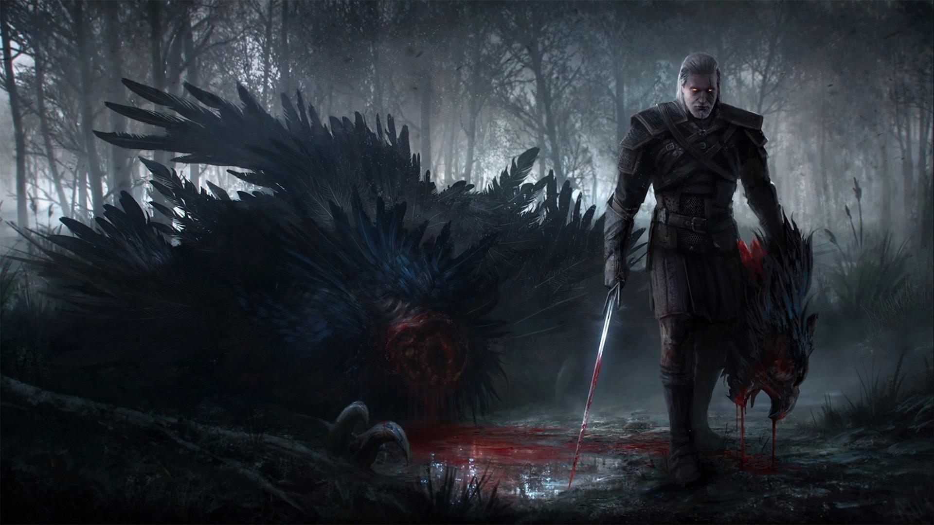 The Witcher 3: Wild Hunt - Geralt z głową potwora, Tapeta na pulpit Wiedźmin 3: Dziki Gon