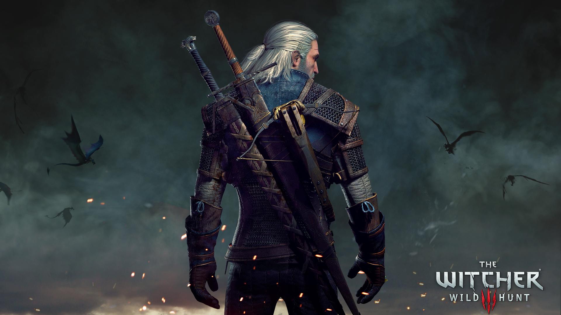 Geralt's back Tapeta na pulpit Wiedźmin 3: Dziki Gon
