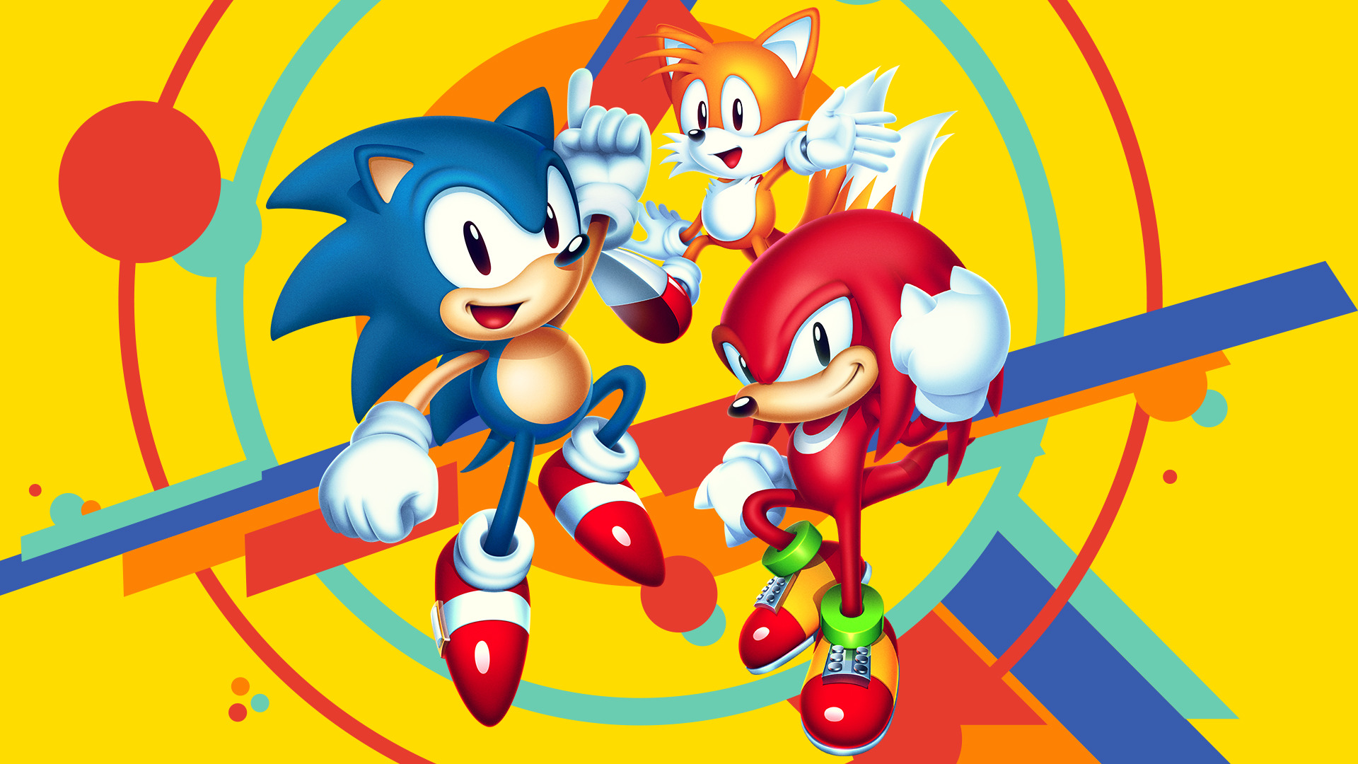 Sonic, Tails i Knuckles. Tapeta na pulpit Sonic Mania