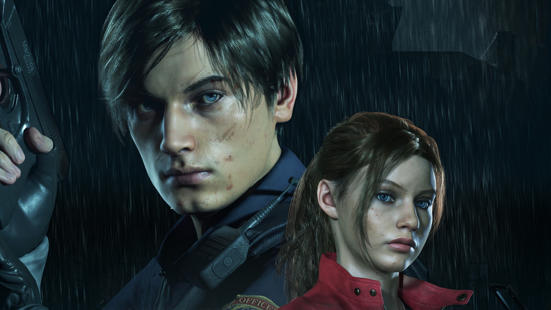 Leon and Claire z Resident Evil 2. Tapeta na pulpit Resident Evil 2