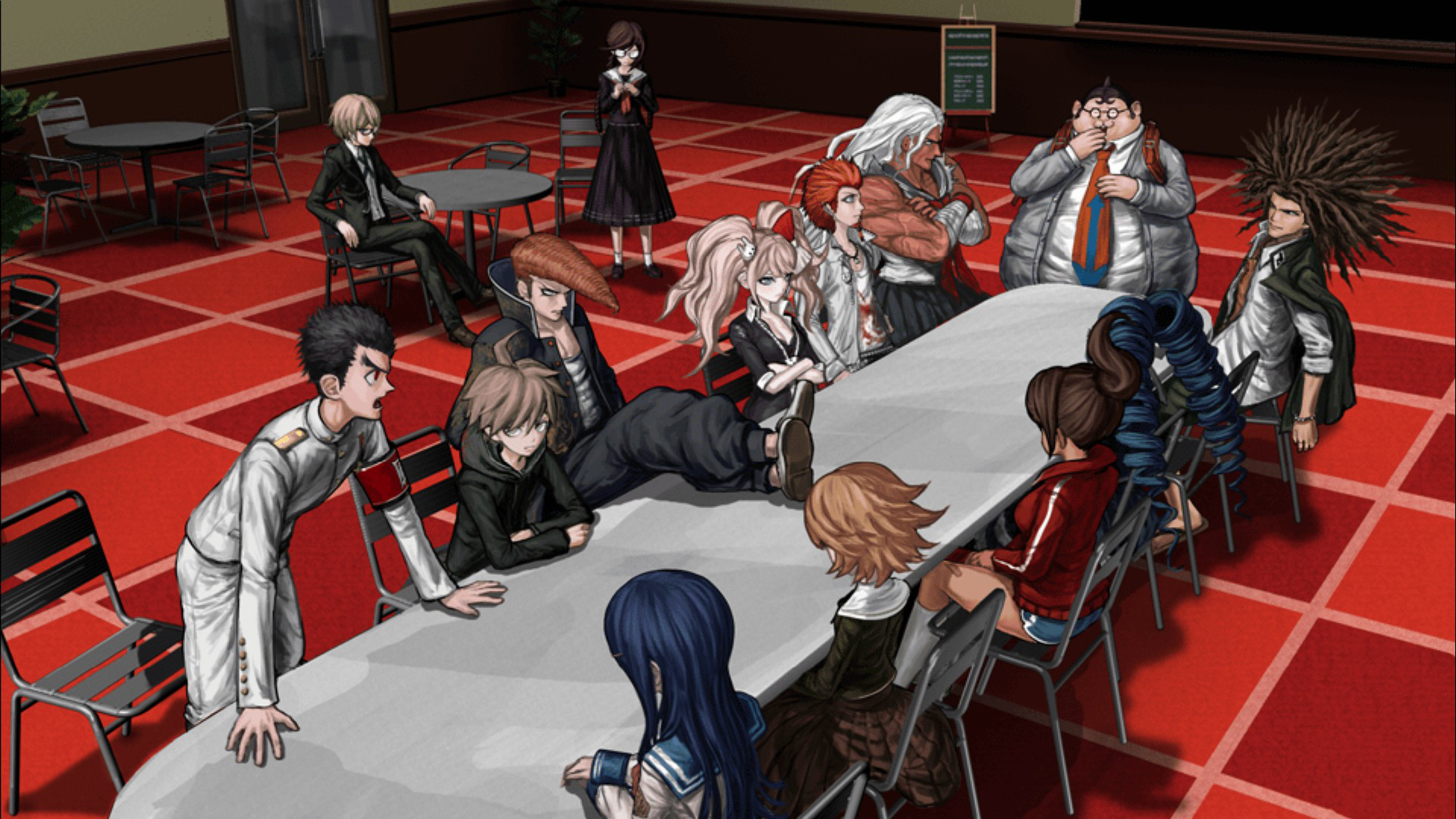 Discussion At The Table Wallpaper From Danganronpa Trigger Happy