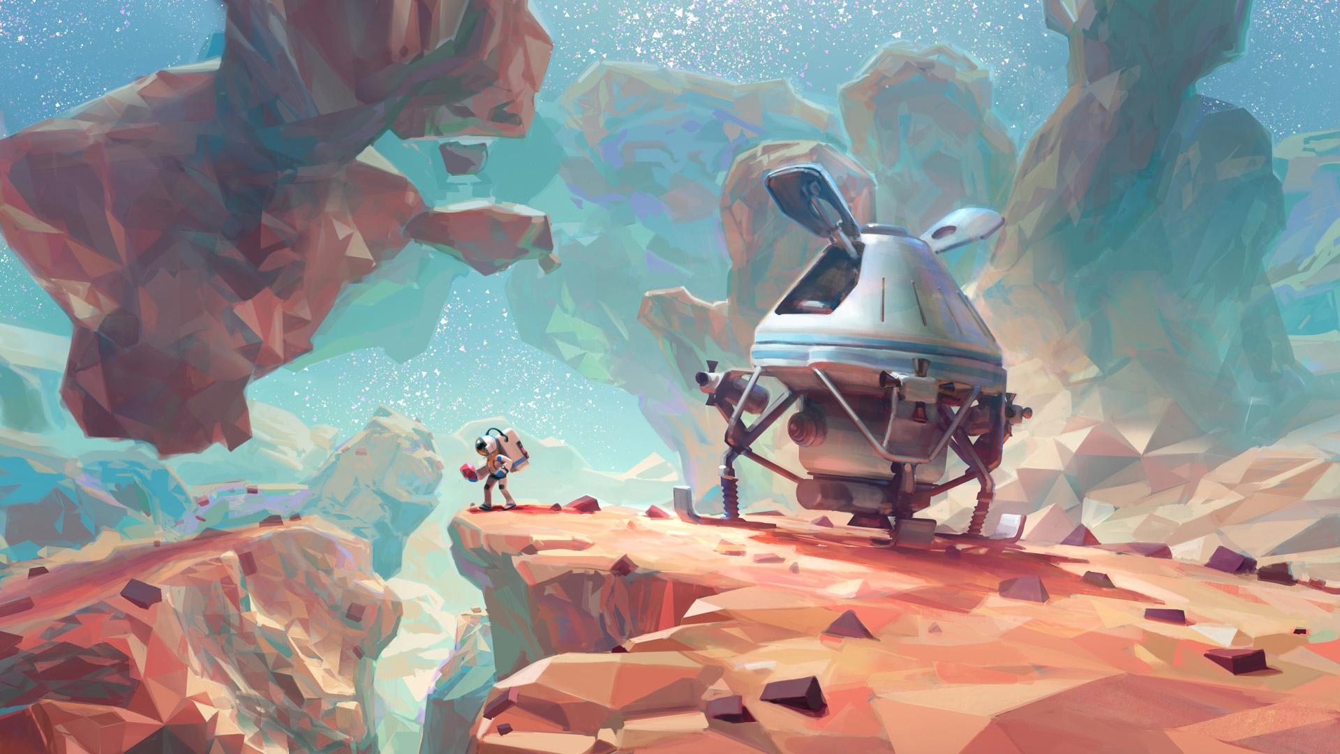 Pierwsze kroki na obcej planecie w grze Astroneer. Tapeta na pulpit Astroneer