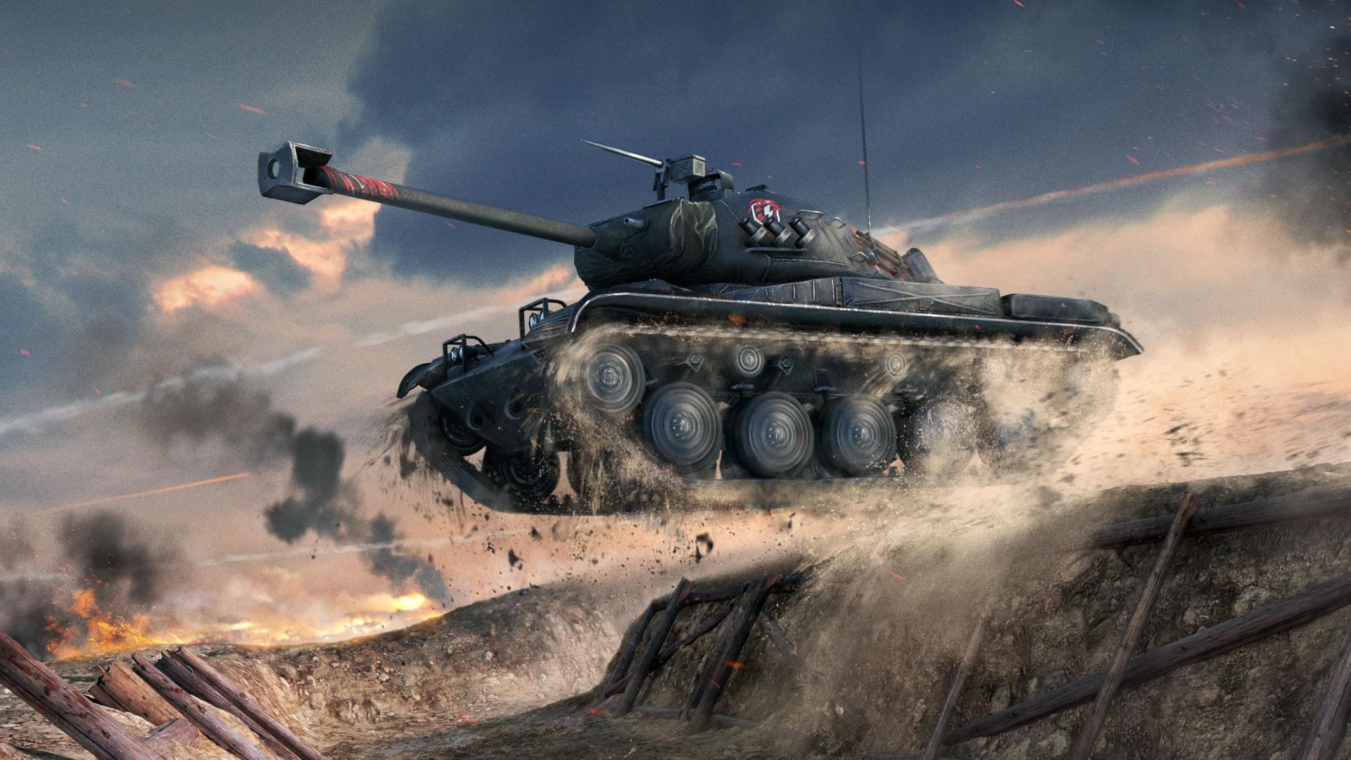 Czołg szybki niczym trąba powietrzna w grze World of Tanks Blitz. Tapeta na pulpit World of Tanks Blitz